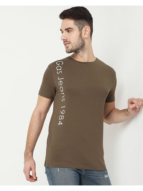 Men's Scuba Vertical Olive Crew Neck T-Shirt