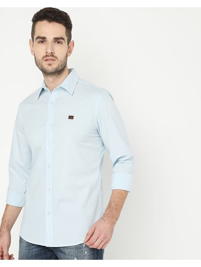 Men's Andrew Light Blue Solid Poplin Shirt