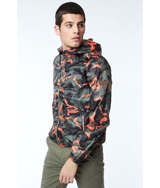 Camouflage Print Zip-Front Hooded Jacket
