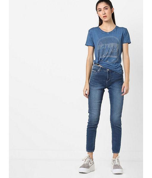 Women's regular fit round neck half sleeves printed Halis close t-shirt