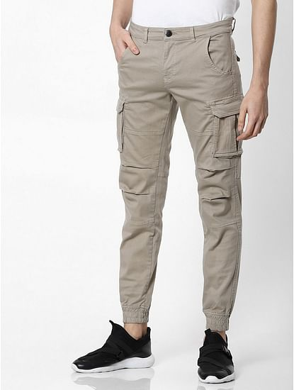 Men's Bob Gym Skinny Fit Beige Cargo Pants