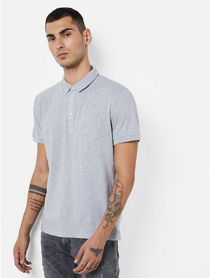 Men's Zed solid grey polo t-shirt
