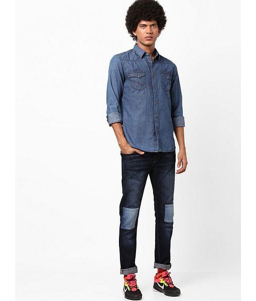 Men's Kant textured blue denim shirt