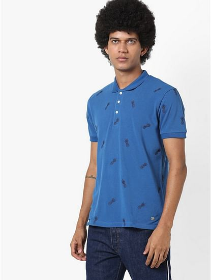 Men's Ralph/s pineapple printed blue polo t-shirt