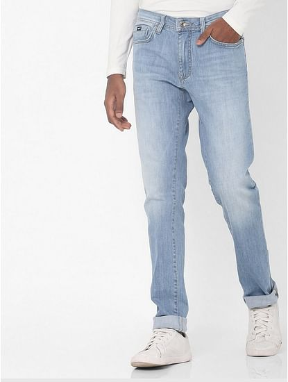 Men's Albert Simple Slim Fit Light Blue Jeans