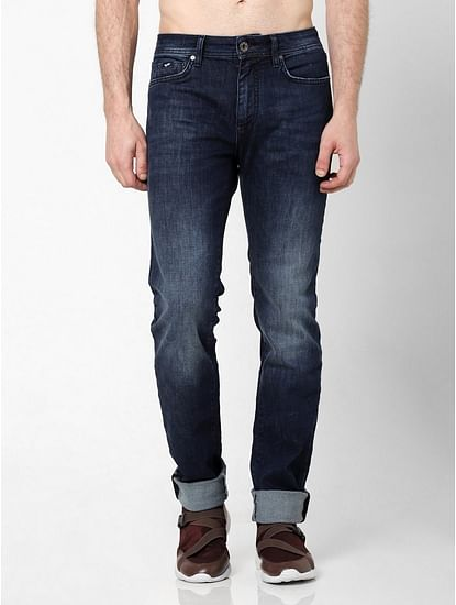 Men's Albert Simple Slim Fit Dark Blue Jeans