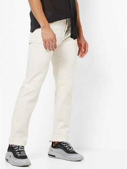 Men's Albert Simple Slim Fit Off white Jeans