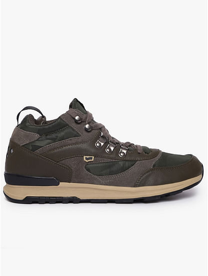 Mid-Top Panelled Lace-Up Casual Shoes