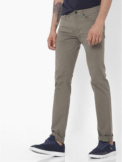 Men's Albert Simple Slim Fit Khaki Jeans