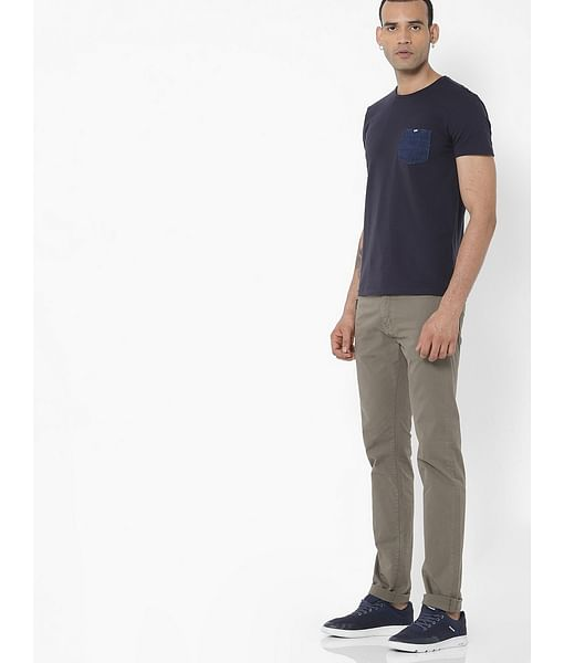 Men's Albert Simple Slim Fit Khaki Jeans