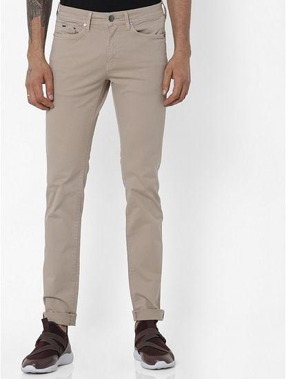 Men's Albert Simple Slim Fit Beige Jeans