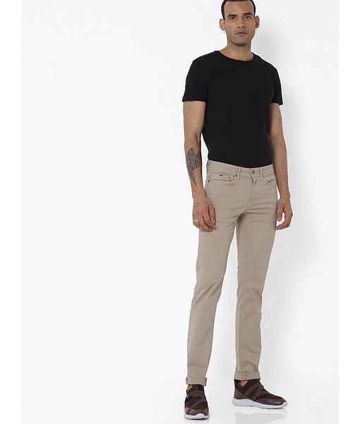 Men's Albert Simple Slim Fit Beige Jeans