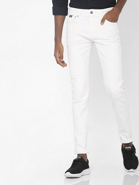 Men's Sax Zip Skinny Fit White Jeans