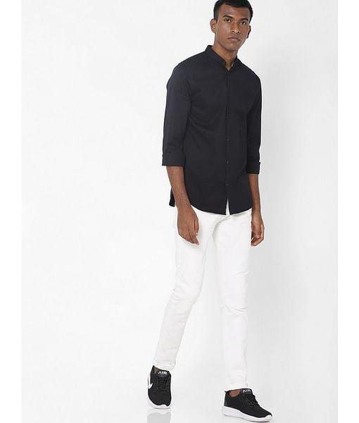 Men's Sax Zip Skinny Fit White Jeans