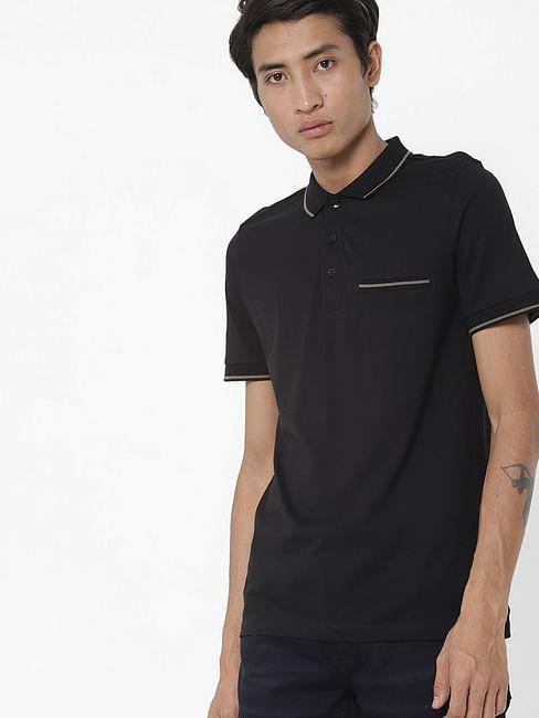Men's Quad/s solid black polo t-shirt