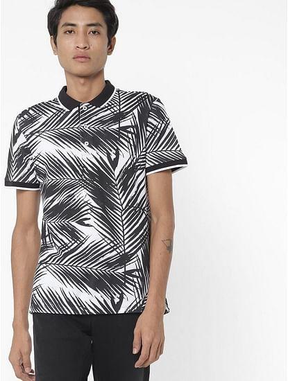 Men's Babur/s printed black polo t-shirt