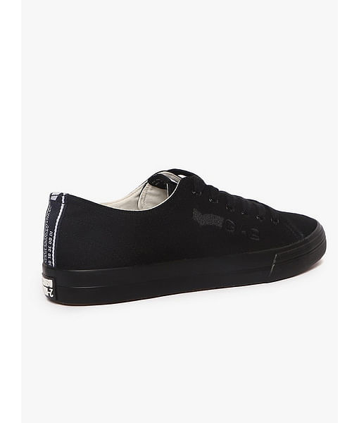 Canvas Lace-Up Casual Shoes with Embroidered Branding