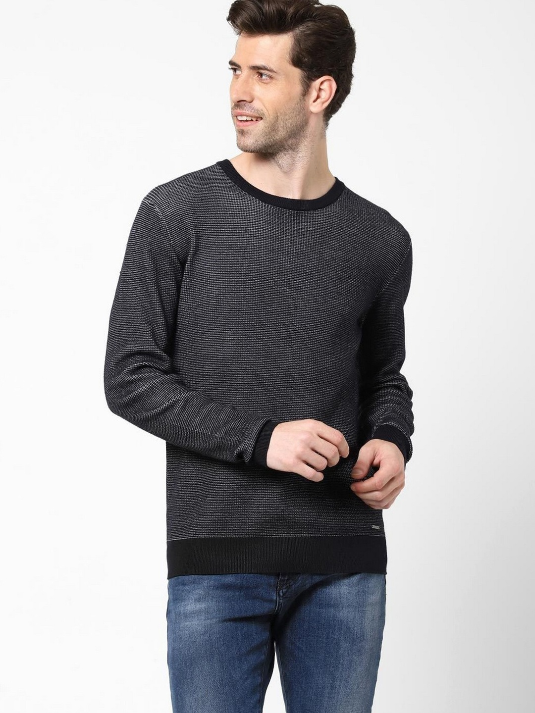 Men's Valerio solid crew neck navy blue sweater