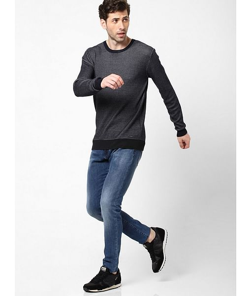 Men's Valerio solid crew neck navy blue sweater