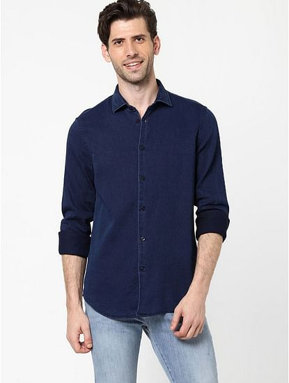 Men's Sir Det solid indigo blue shirt