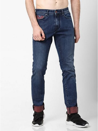 Men's Albert Simple Slim Fit Mid blue Jeans