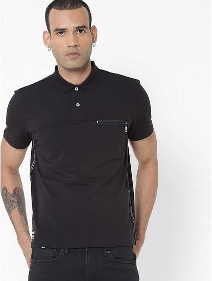 Men's Keff/r solid black polo t-shirt