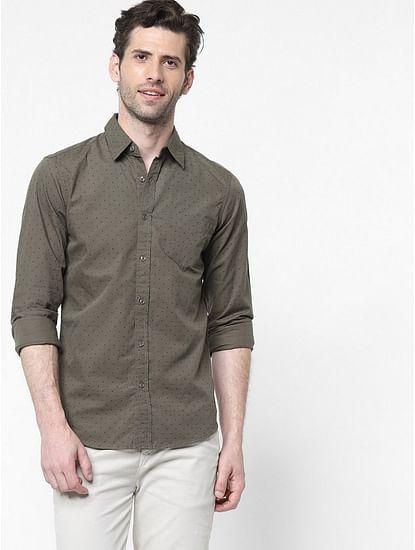 Men's Flix SS all over printed green shirt