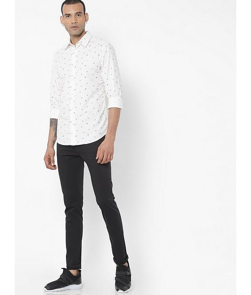Men's Sir Det all over printed white shirt
