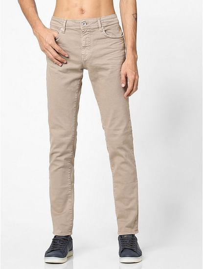 Men's Sax Zip Skinny Fit Beige Jeans