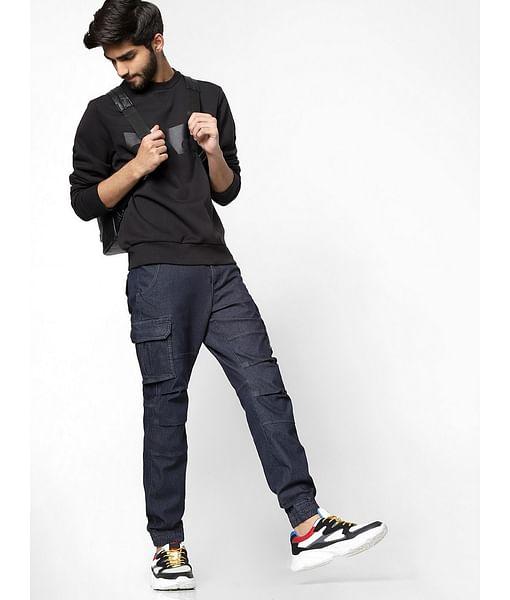 Men's Bob Gym Skinny Fit Navy blue Cargo Pants