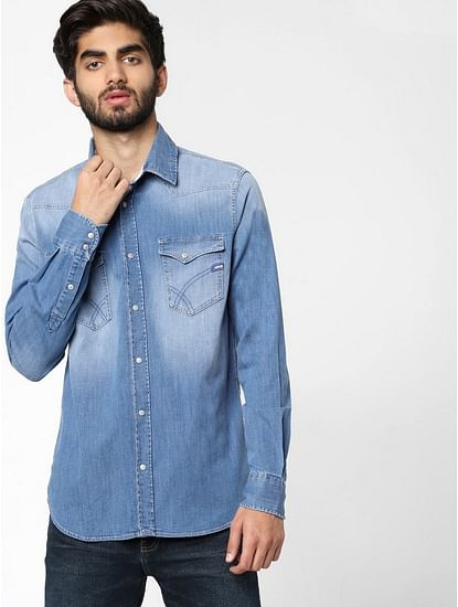 Men's Kant X solid blue denim shirt