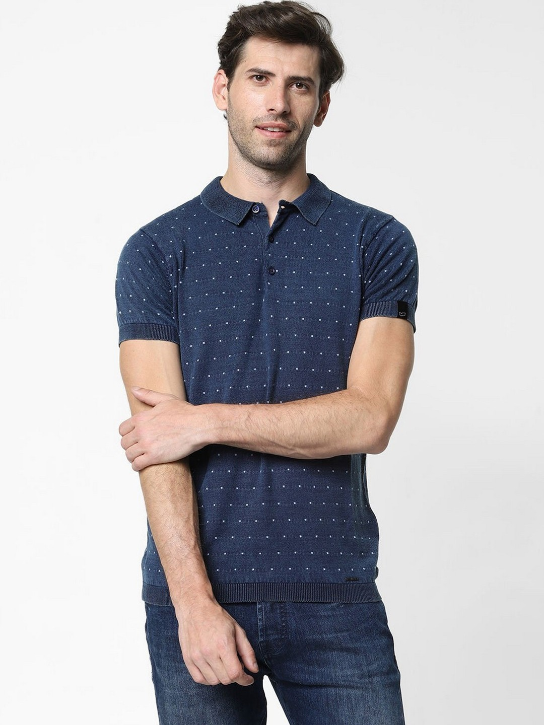 Men's Ryce printed blue polo t-shirt