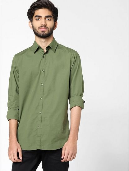 Men's Andrew solid green shirt