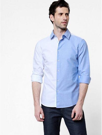 Men's Sir Det color block white and blue shirt