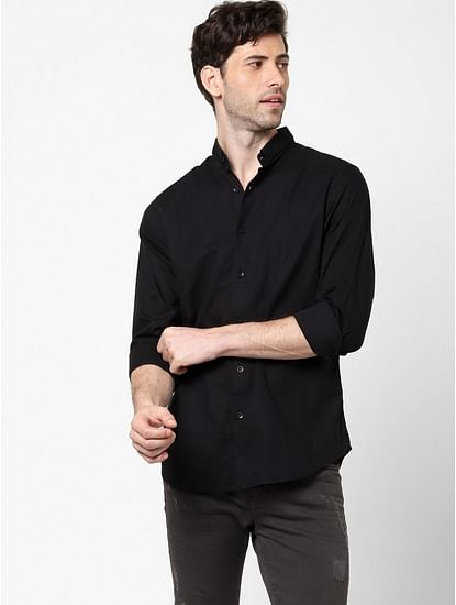 Men's Sir Det chess solid black shirt