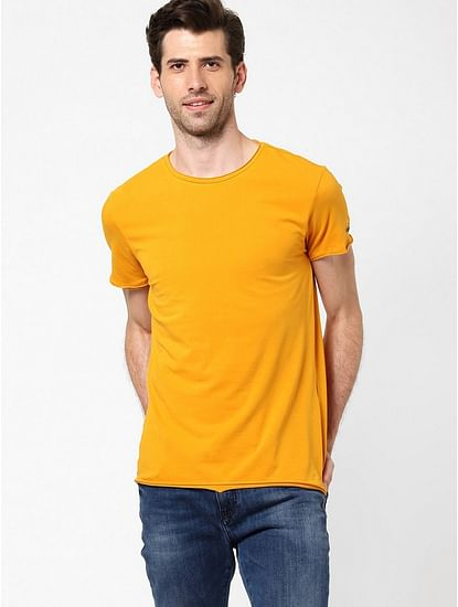 Men's Scuba basic solid round neck pumpkin t-shirt