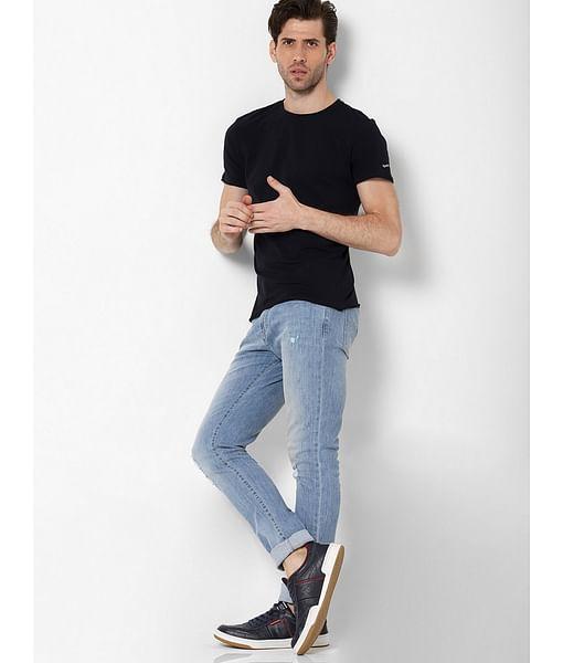 Men's Scuba basic solid round neck navy blue t-shirt