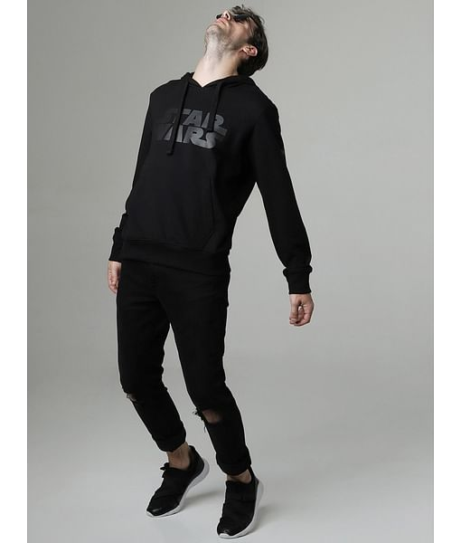 Men's Vader printed black hooded sweatshirt