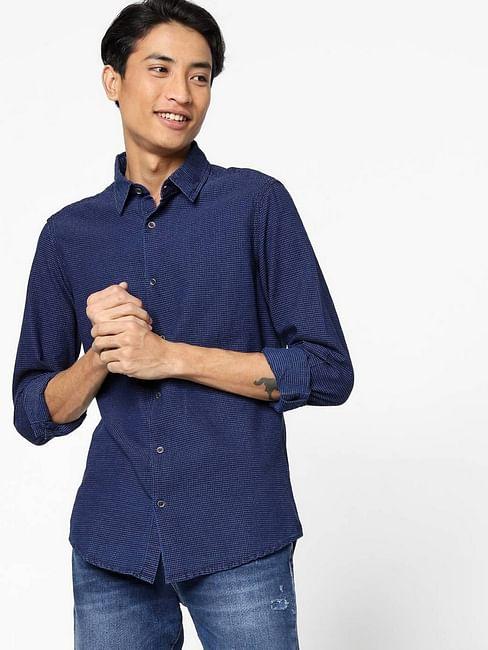 Men's Sir Det jacquard textured blue shirt