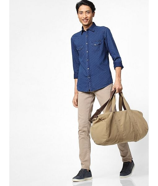 Men's Kant printed blue denim shirt