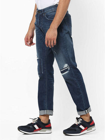 Men's Norton Carrot Fit Dark Blue Distress Jeans