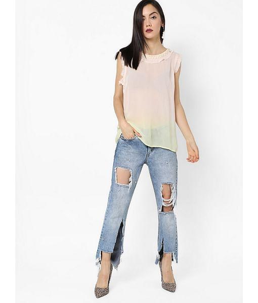Women's regular fit round neck sleeveless Smoothie Top