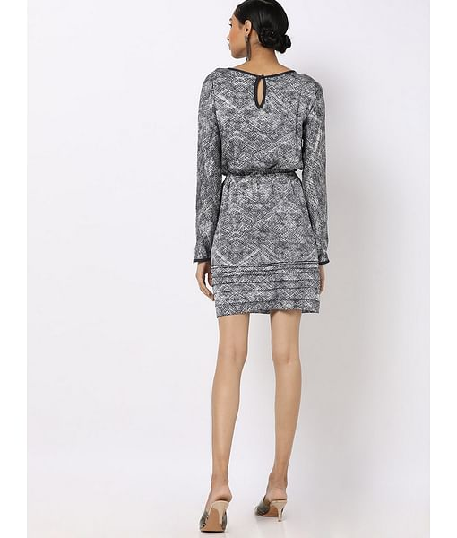Women's regular fit wide neck full sleeves printed Lorensy dress