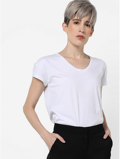 Women's regular fit round neck half sleeves Jelli top