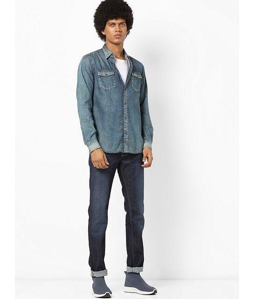 Men's Victor Solid Blue Denim Shirt