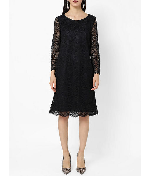 Women's regular fit round neck long sleeves Tyana lace dress