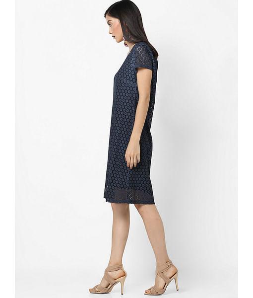 Women's regular fit round neck half sleeves Infinyte dress