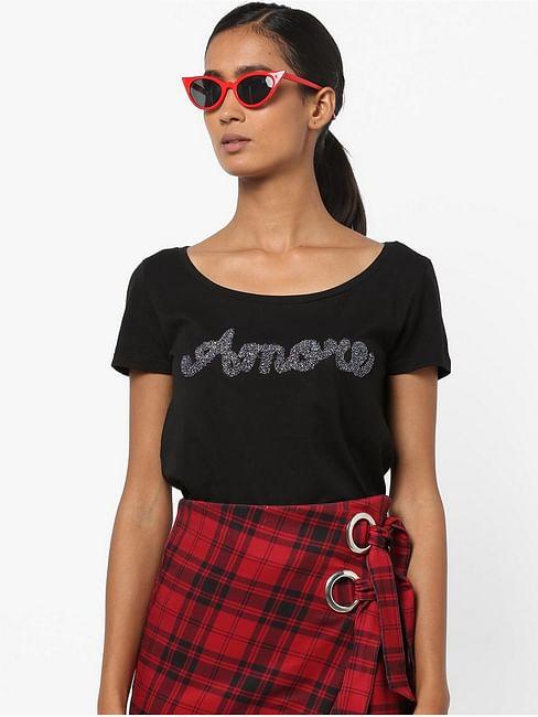 Women's regular fit round neck half sleeves Nakie Amore t-shirt