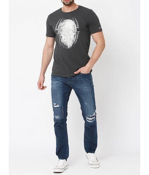 Men's Face in printed crew neck dark grey t-shirt