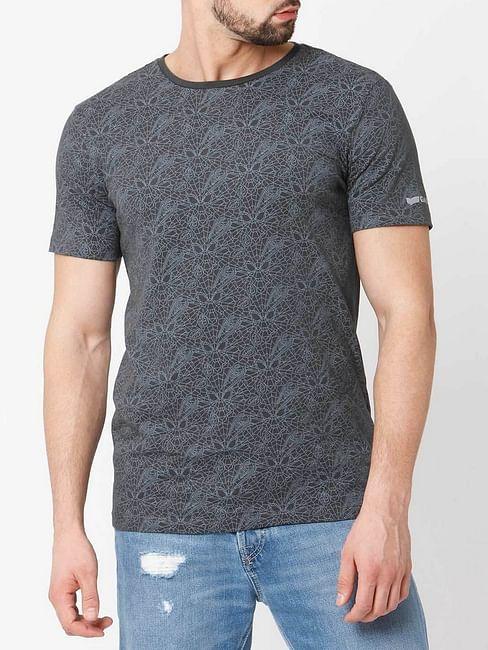 Men's Cobweb printed crew neck dark grey t-shirt